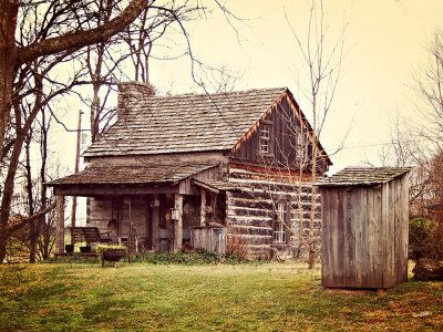 Image featuring a Rustic Log Cabin and Outhouse