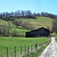 Product, Modern Barn Art featuring black wooden barn in a green valley