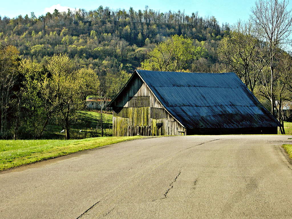 Country Wall Decor featuring an old wooden barn at the curve of a country road