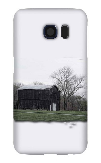 Product, Cellphone Case: Dawn - image of two-story black tobacco barn in Macon County, Tennessee
