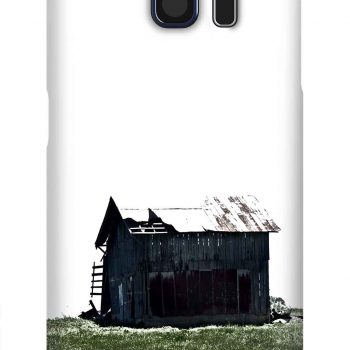 Product, Cellphone Case: Keeping Watch - Black barn with white roof and green grass