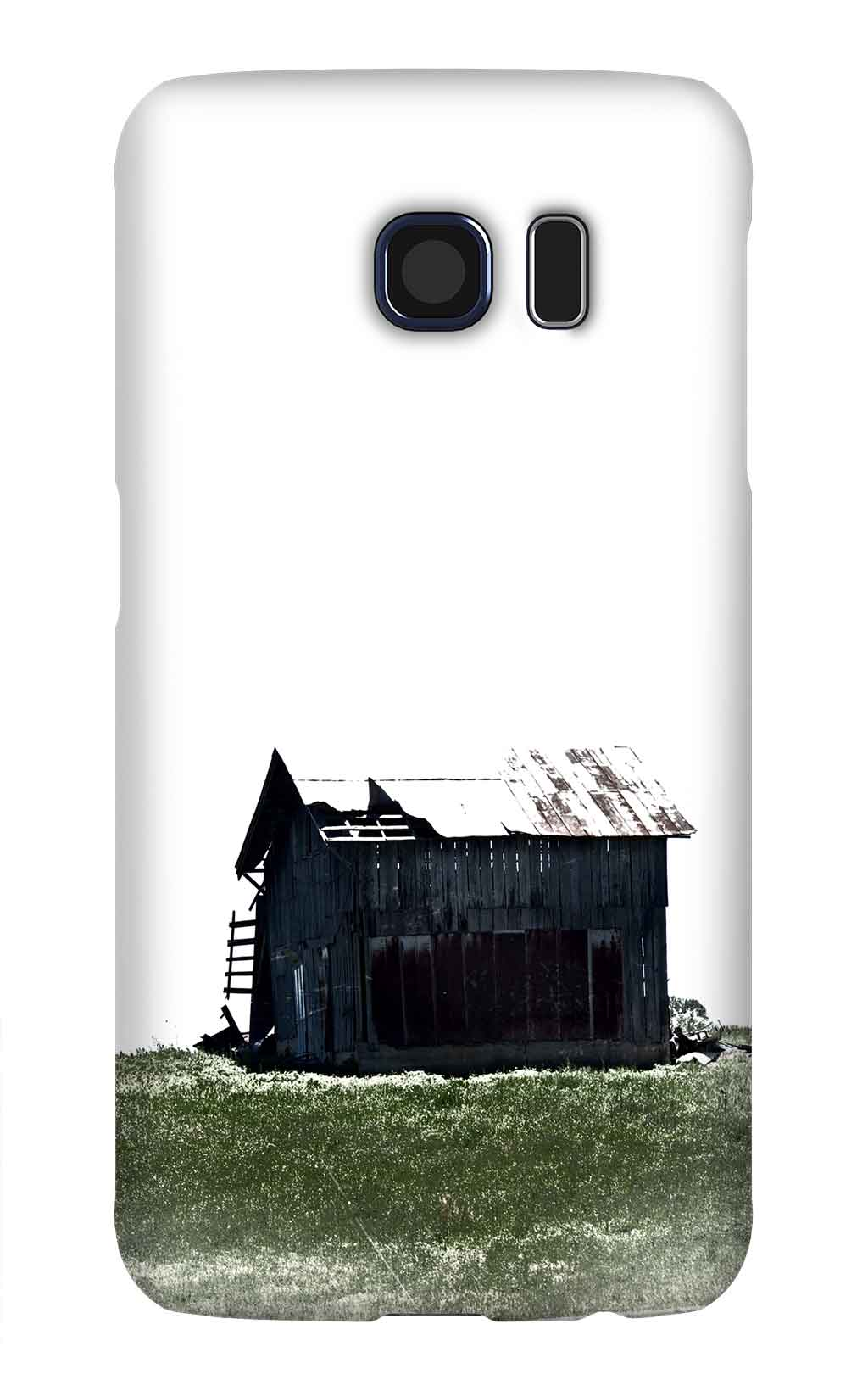 Product, Cellphone Case: Keeping Watch – Black barn with white roof and green grass