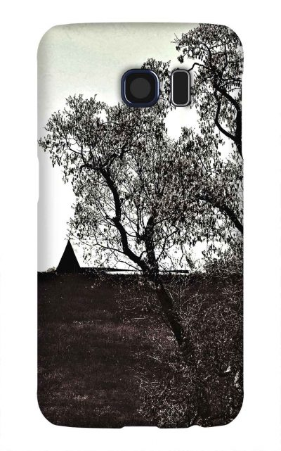 Product, Cellphone Case: Over the Horizon - Barn peeking over a hill, black and white, Red Boiling Springs, Tennessee