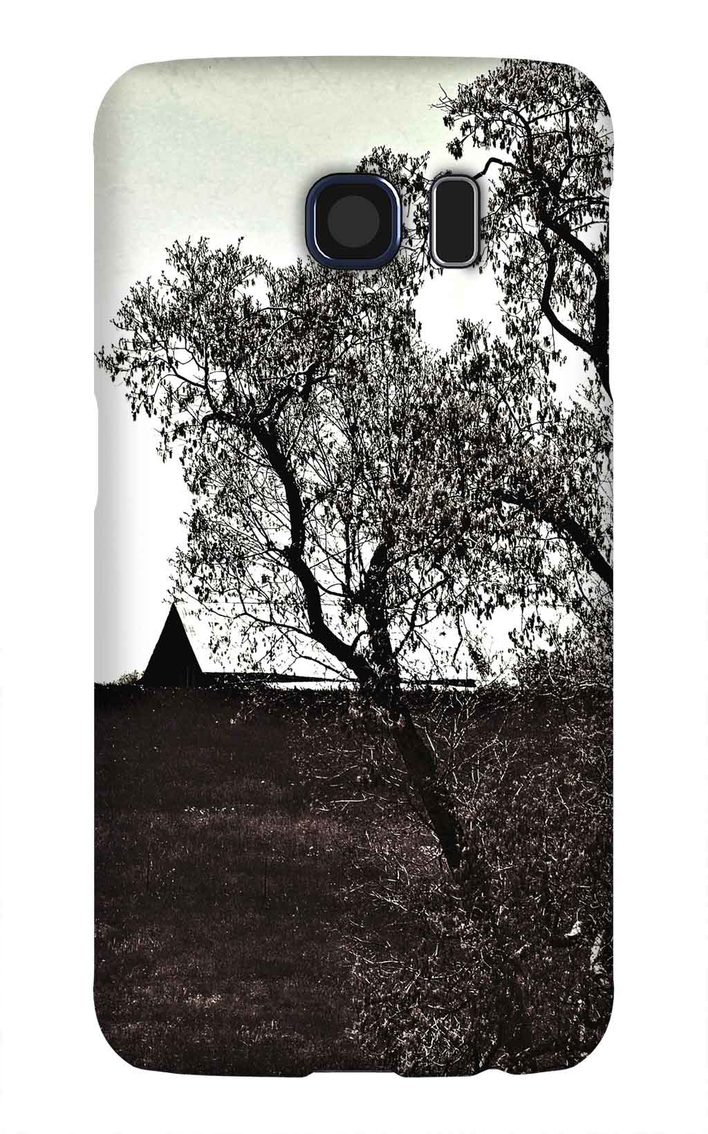Product, Cellphone Case: Over the Horizon – Barn peeking over a hill, black and white, Red Boiling Springs, Tennessee
