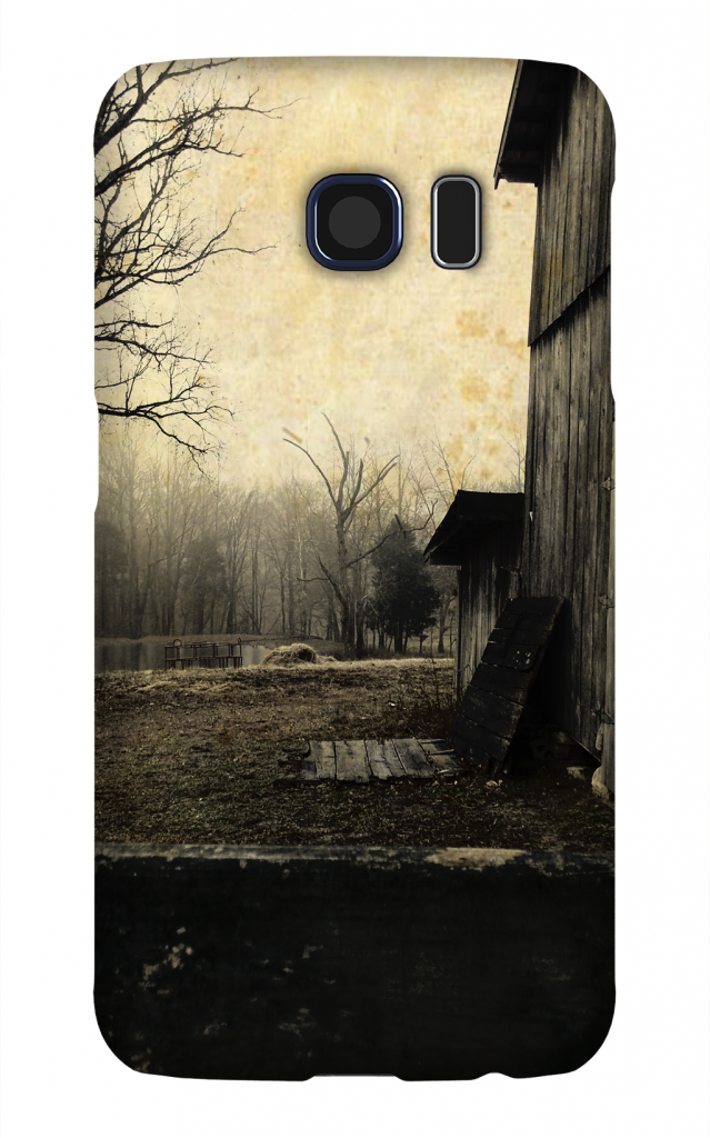 Product, Cellphone Case: Then Came Dusk - Image of horse barn and tree with bare limbs