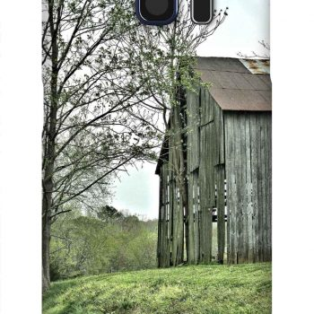 Product, Cellphone Case: Best Friends- Time ravaged barn on hill of green grass next to a spring tree