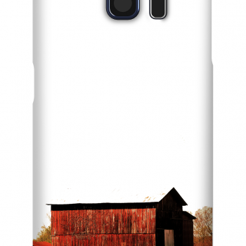 Product, Cellphone Case: Crimson - Red barn bathed in sunshine with fall foliage