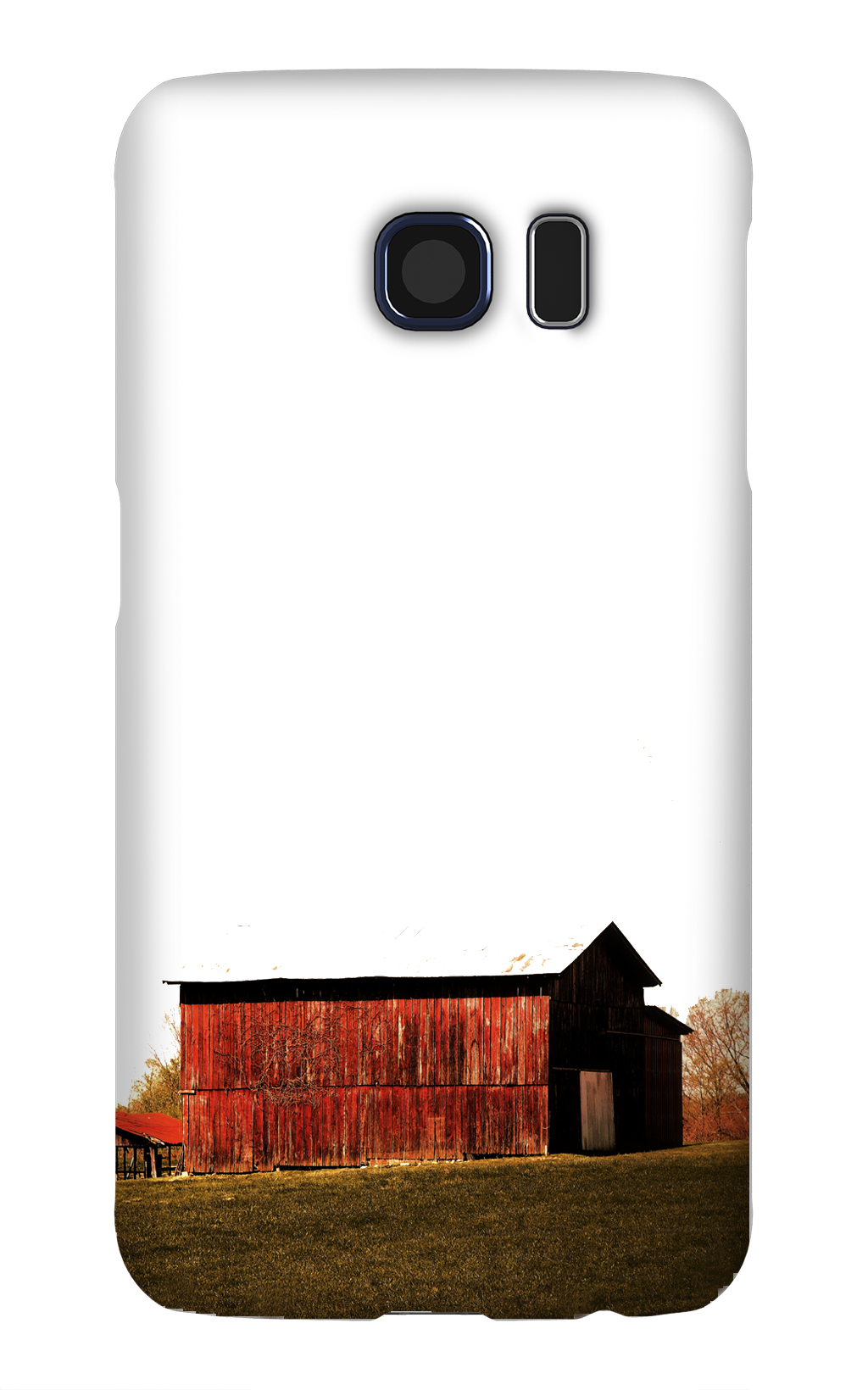 Product, Cellphone Case: Crimson – Red barn bathed in sunshine with fall foliage