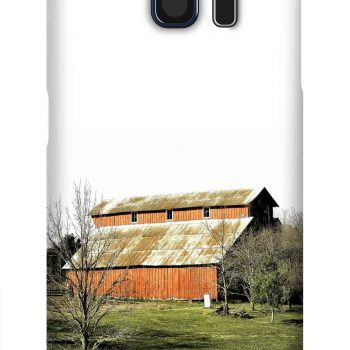 Product, Cellphone Case: Goddess - Red gabled barn with rusty tin roof on green grass and wintery trees