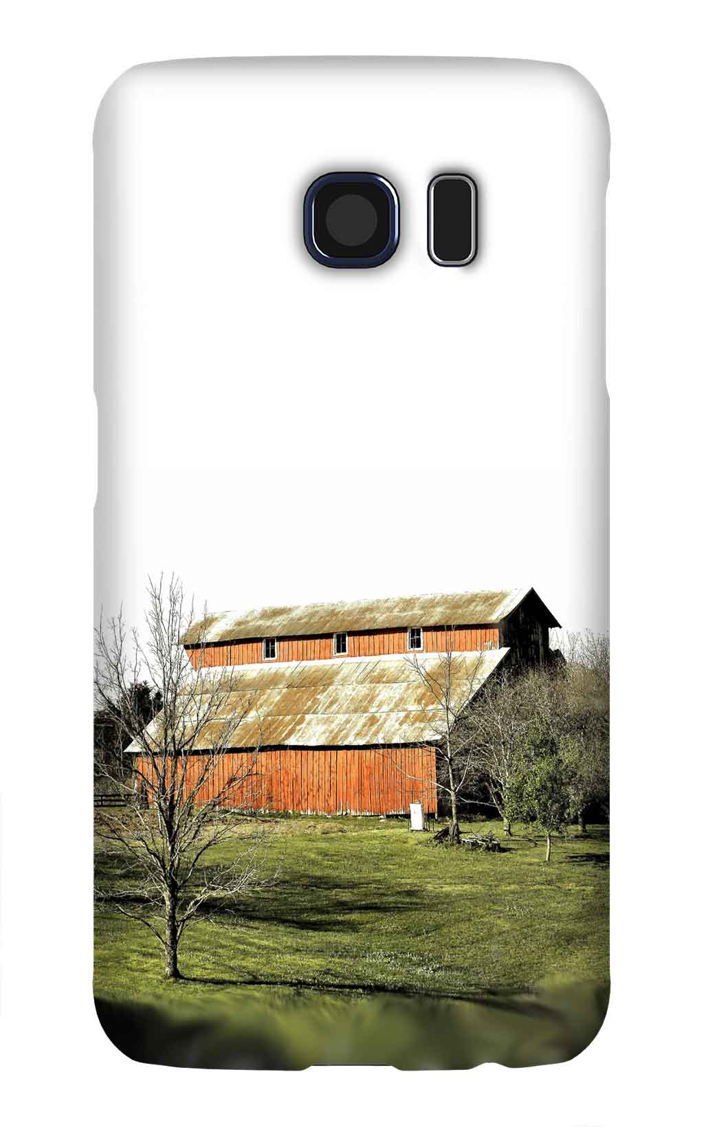Product, Cellphone Case: Goddess – Red gabled barn with rusty tin roof on green grass and wintery trees