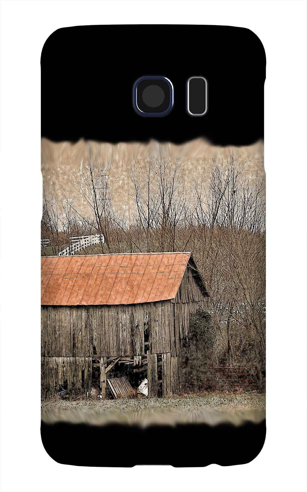 Product, Cellphone Case: Hot Tin Roof - Weathered barn with red tin roof and white picket fence