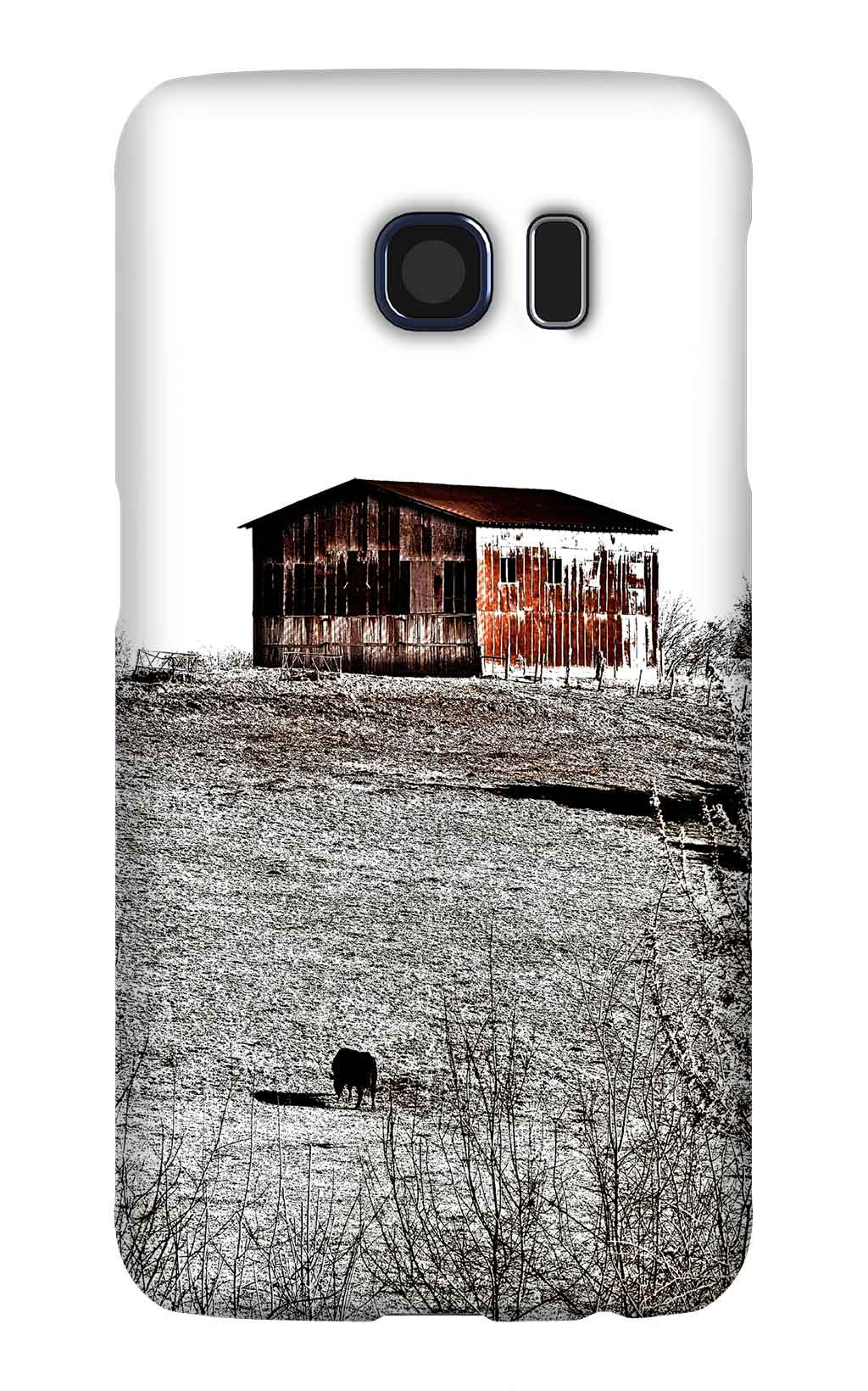 Product, Cellphone Case: The Sentry – Rusty metal barn on a hill and silhouette of cow