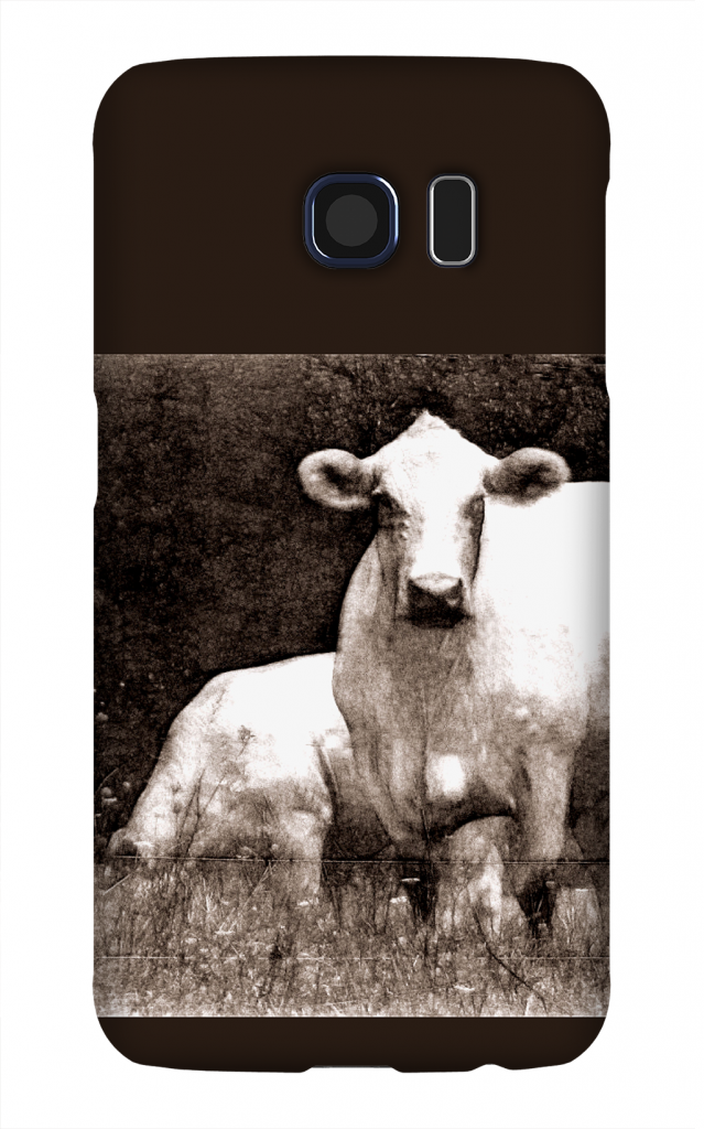 Product, Cellphone Case: Curious Cow – Black and white image of two white cows