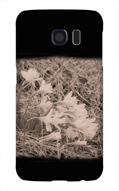 Product, Cellphone Case: Daffodils - Black and white image of daffodils