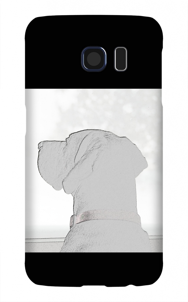 Product, Cellphone Case: Miss You – Reverse black and white silhouette of labrador-dane mix looking out window