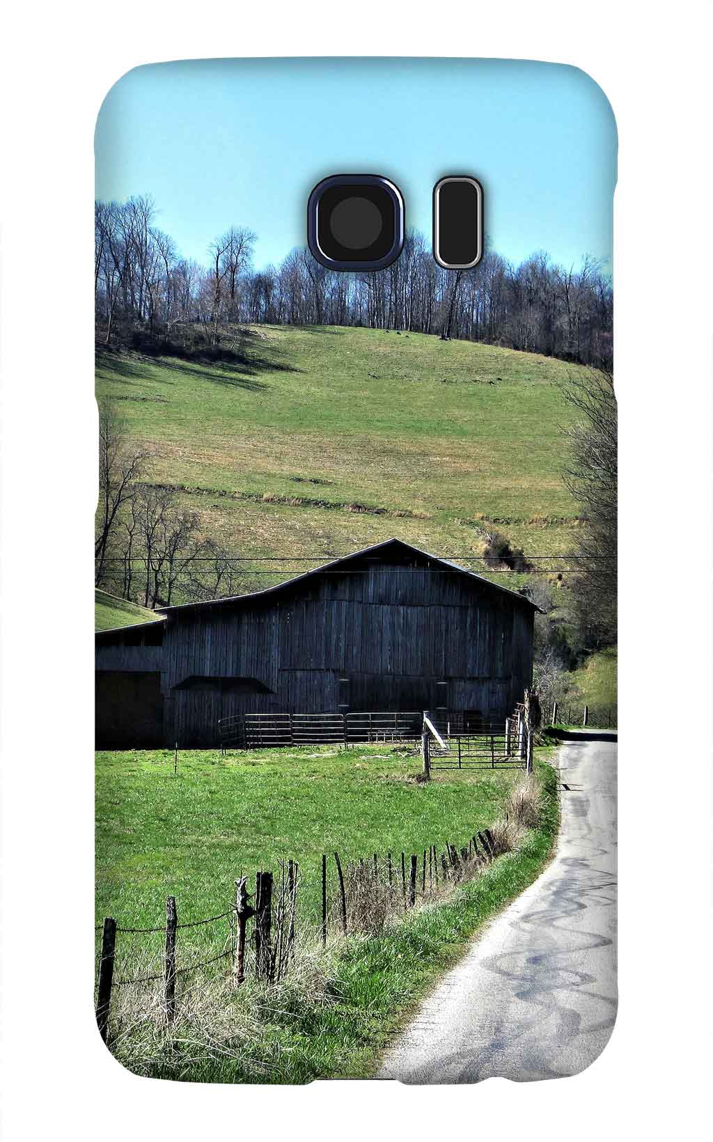 Product, Cellphone Case: At the End – Black barn at the end of a driveway with blue skies and mountain