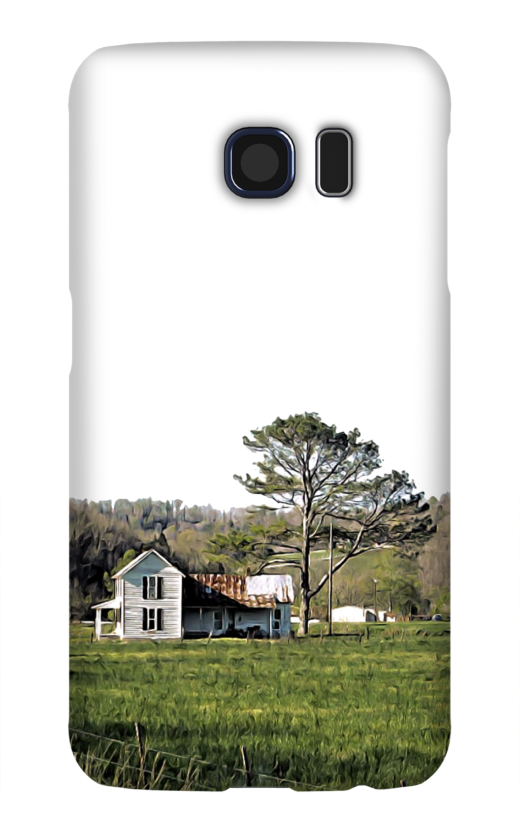 Product, Cellphone Case: Lovely Bones – White farmhouse with rusting roof in field with pine tree