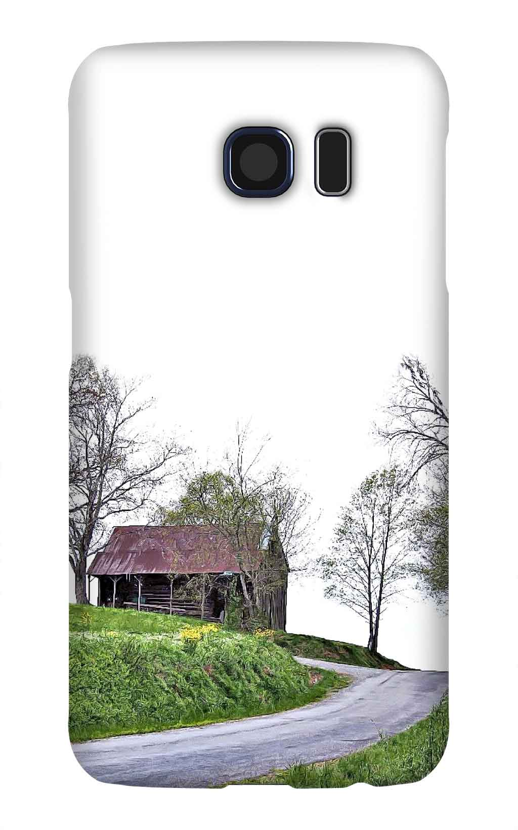 Product, Cellphone Case: Obsidian – Black barn with red metal roof on top of hill