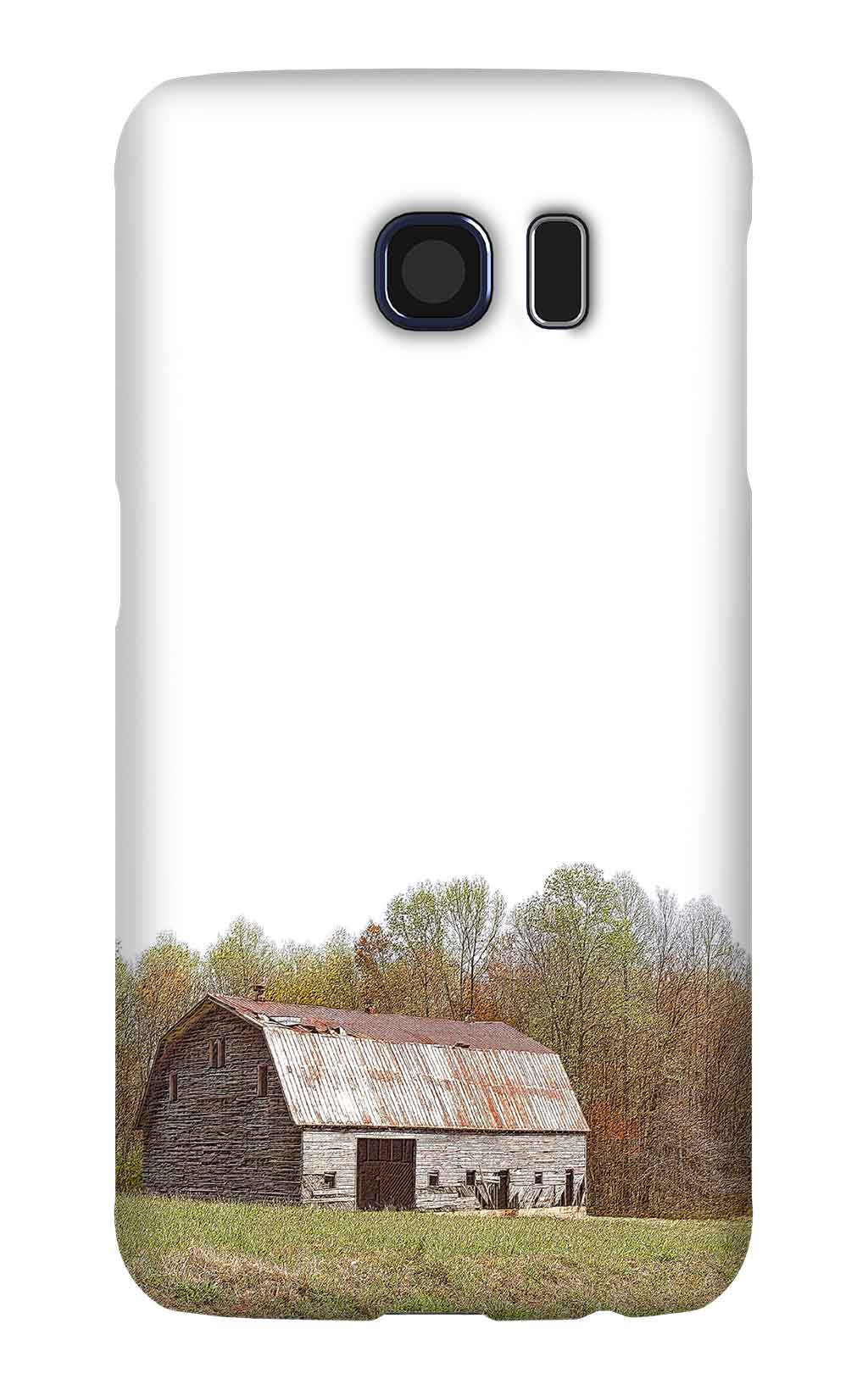 Product, Cellphone Case: Amityville – Gabled wooden barn in front of fall foliage