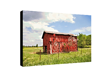 Colorful canvas wall art featuring red barn, green grass, blue skies