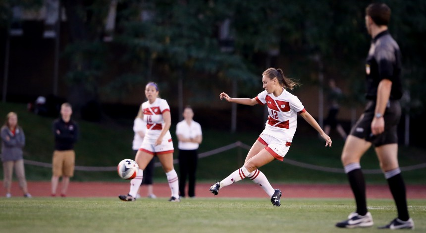Midfielder Micaela Powers plays during the team's first home game of the season on Friday, Aug. 26th, 2016.