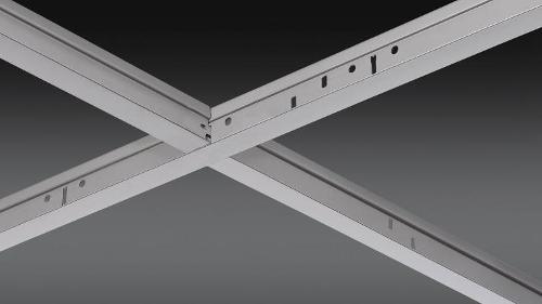1 1/2 in x 15/16 in x 4 ft Chicago Metallic 700 Stainless Steel Cross Tee Hook-End - 734.00SBZ