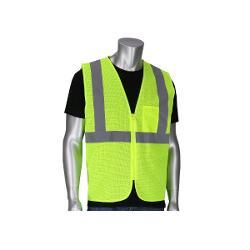 PIP ANSI Type R Class 2 Value Zipper Mesh Hi-Vis Yellow Vest - Large/XL