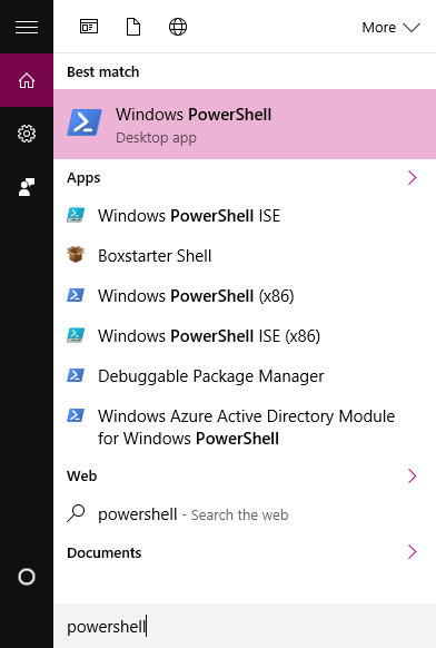 start menu powershell