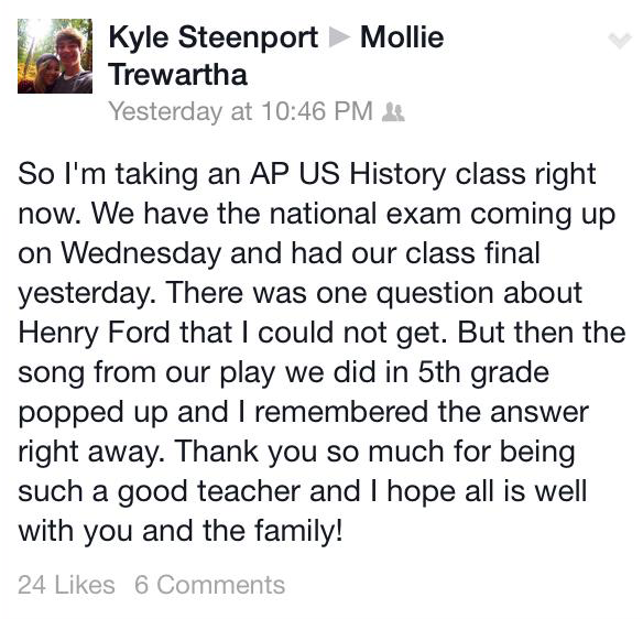 Student uses Great Americans of the 20th Century to nail the answers on an AP History exam.