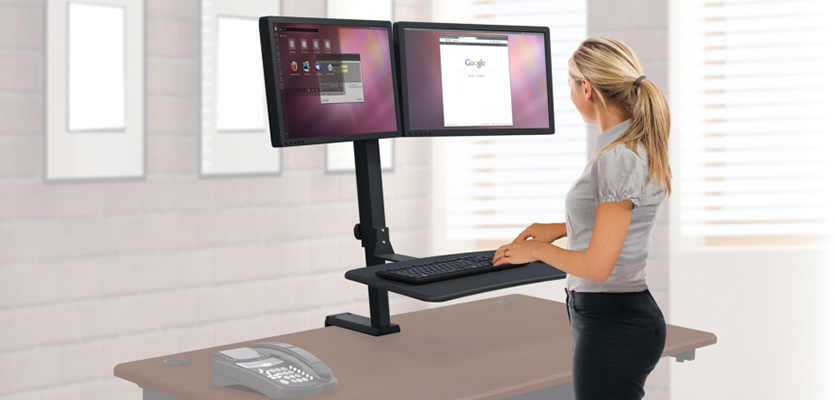Sit to stand monitor arm and keyboard