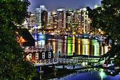 Coal Harbour Night - 2 by Royden F. Heays