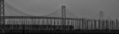 Bay Bridge and Sailboats by Roger Lieberman