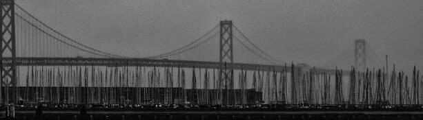 Bay Bridge and Sailboats by Roger Lieberman
