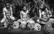Mudmen Dancers Resting without Their Masks by Elaine Jones Heron