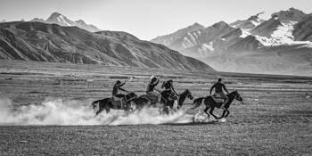 Tajik Tribesmen Playing Buzkashi #10 by John Eaton