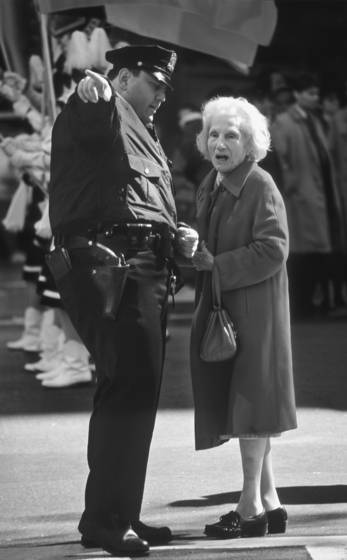 Cop and old woman