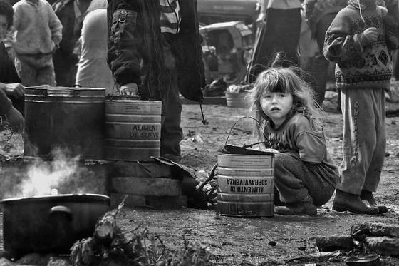 Girl in refugee camp