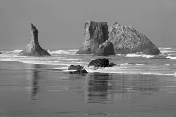Bandon sea stacks 1bw