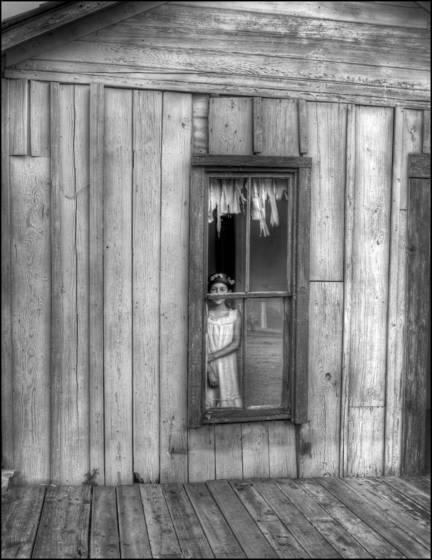 Olivia in store window