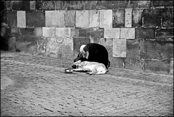 Beggar under a bridge