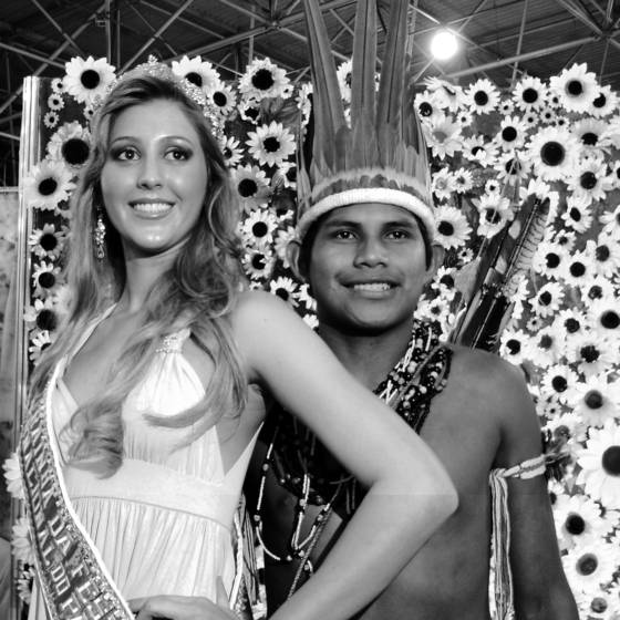 Beauty queen and indigenous boy