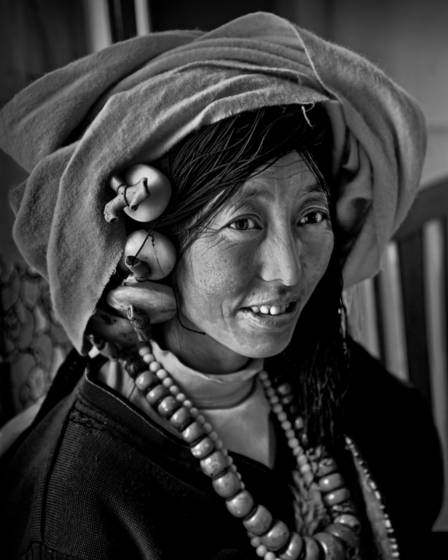 Tibetan woman in a tea house