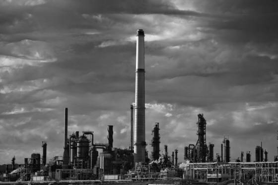 Refinery and clouds