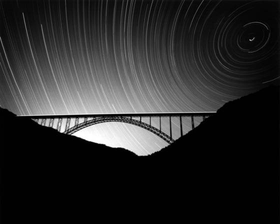 New river gorge bridge and star trails
