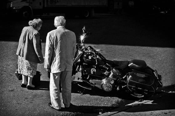 Senior bike admirers