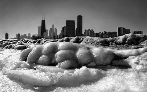 Chicago ice skyline
