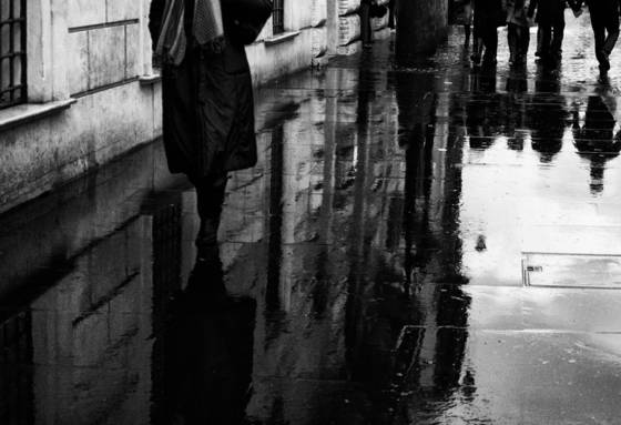 Relections on wet street