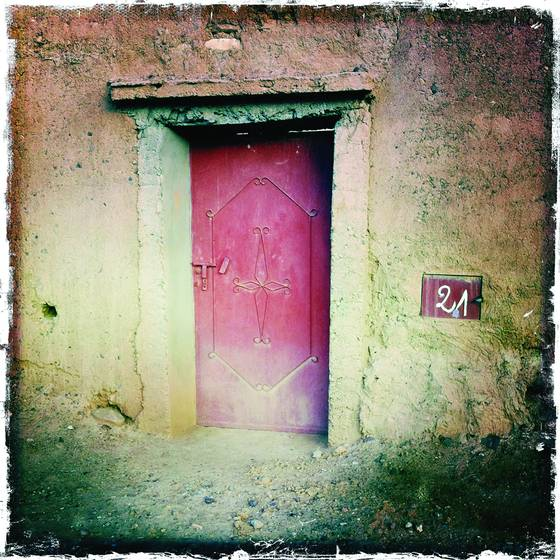 Door in adobe wall