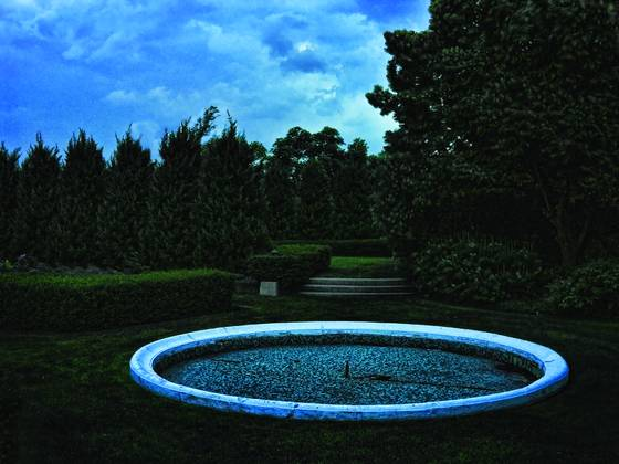 Bahai temple fountain