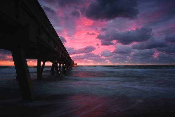 Sunrise at deerfield pier